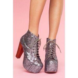 Jeffrey Campbell Pewter Glitter Lita Boots